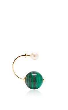 Malachite Stone-Edge Piercing Earring by Delfina Delettrez for Preorder on Moda Operandi