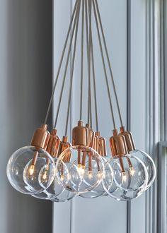 Byron Copper Cluster Light x – Copper – Matalan Copper Light Fixture, Crystal Light Fixture, Copper Lighting, Glass Pendant Light, Cool Lighting, Lighting Ideas, Lighting Design, Dining Room Light Fixtures, Dining Room Lighting