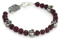 """Queen Baby """"Roses"""" Four Silver with 7mm Ruby Bracelet Queen Baby. $390.00. Hand carved. Made in United States"""