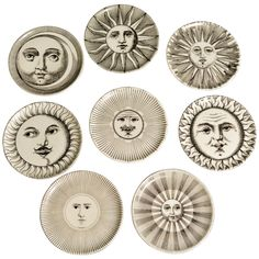 I FUCKING WANT A Set of Eight Piero Fornasetti Sun & Moon Coasters Italy The coasters are decorated with eight different images of a Sun or Moon face and are numbered They come with their original box. Moon Sun Tattoo, Sun Tattoos, Sun Logo, Piero Fornasetti, Moon Illustration, Sun Moon Stars, Celtic Art, Mirror Art, Elements Of Design