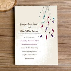 FREE RSVP CARD AND PRINTED ENVELOPE INCLUDE.. $.94 each! Simple Yet Colorful Willow Wedding Invitations IWI011