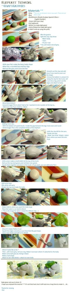 Polymer Clay : Elephant tutorial by ~CraftCandies on deviantART