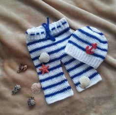 Crochet  baby sailor photo prop set hat with by fridaysfactory