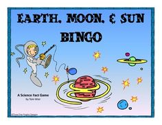 This printable Earth, moon, + sun bingo game includes 16 vocabulary words that match most states' science standards. Students write the vocabulary words in random order on their bingo form. Clue cards with definitions are included along with complete instructions. Great for review before assessment. $