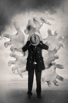 Man trying to silence the Hands, by Tommy Ingberg. Black and White photo. Surrealism Photography, Conceptual Photography, Creative Photography, White Photography, Experimental Photography, Exposure Photography, Abstract Photography, Surreal Photos, Surreal Art