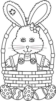 easter bunny standing in basket coloring page - Coloring Pages Easter