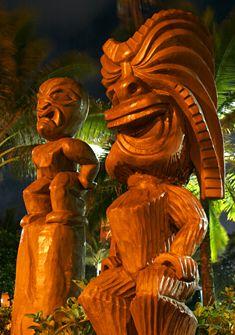 at Polynesian Cultural Center Oahu Tiki Hawaii, Hawaiian Tiki, Aloha Hawaii, Hawaiian Islands, Hawaii Travel, Blue Hawaii, Polynesian Cultural Center, Tiki Statues, Tiki Lounge