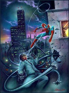 Spider-Man vs Doctor Octopus by Dimitri Patelis Marvel Comics Superheroes, Marvel Art, Marvel Characters, Marvel Heroes, Marvel Villains, Spiderman Art, Amazing Spiderman, Spiderman Sketches, Marvel Fight