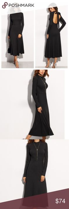NWT Black Tie Back Long Sleeve Midi Dress Black Tie Cut Out Back Long Sleeve Dress. This dress is an absolute stunner, it is a true Audrey Hepburnesque look! Major fashion points with this one!  Bust(cm) : XS:76cm, S:80cm, M:84cm, L:88cm Dresses Length : S:124cm, M:125cm Hip Size(cm) : S:82cm, M:86cm Waist Size(cm) : S:64cm, M:68cm Sleeve Length(cm) : S:71cm, M:72cm MMC Dresses Midi