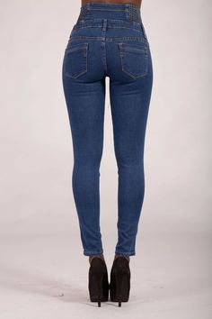 Laura Blue High Waist Jeans – Lusty Chic High Jeans, High Waist Jeans, Blue Skinny Jeans, Legs, Chic, Model, How To Wear, Cotton, Pants