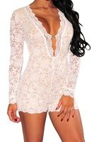 2014 Summer New Sexy bodysuit Short dress Long Sleeved White and black Lace Romper with Lining