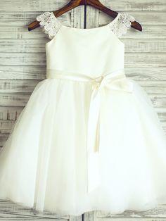 Vestido de Niña Florista - Corte Princesa Hasta la Rodilla - Encaje/Satén/Tul Manga Corta - USD $69.99