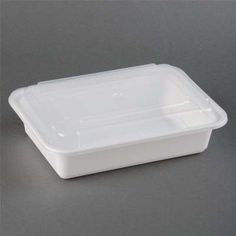 38 oz Microwaveable White Rectangular Container Lid Combo 150 CT