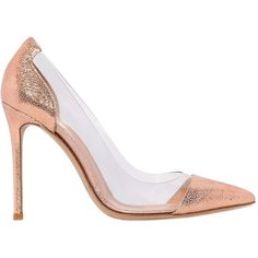 GIANVITO ROSSI 100mm Crackled Leather Pumps (6.235 NOK) ❤ liked on Polyvore featuring shoes, pumps, heels, nude, nude pumps, pointy toe high heel pumps, leather sole shoes, nude leather shoes et nude heel pumps