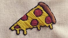 A custom pizza I embroidered yesterday                                                                                                                                                                                  More