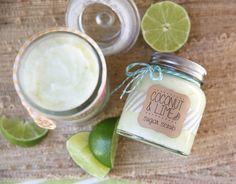 Silky Coconut Lime Sugar Scrub- juice of 2 limes,1/2 c brown sugar, 4 tbsp coconut oil