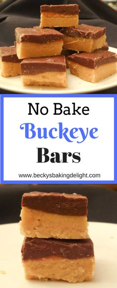 If you love a dessert with a combination of peanut butter and chocolate, you have to try these buckeye bars.  Easy to make and great results!