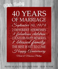 40th Anniversary Gift 40 Years Red Personalized Print Poster Family Tree Keepsake Gift for Parents Custom Words Sign Golden Anniversary