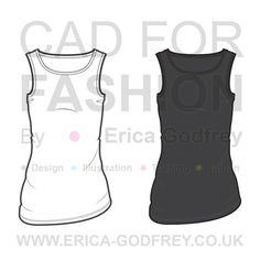 Women's Sleeveless Tank Fashion Flat Template