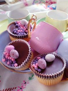 Mauve and pink easter cupcakes - makes a change from yellow and pale green!