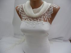 White Cotton Scarf Shawl Headband Cowl with Lace Edge by DIDUCI, $14.50