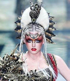 Warrior-style makeup by Mao Geping Makeup at Mercedez-Benz China Fashion Week Fall 2013