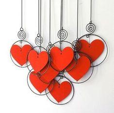 Wire Crafts, Jewelry Crafts, Diy And Crafts, Valentine Crafts, Christmas Crafts, Valentines, Diy Dream Catcher Tutorial, Wire Art Sculpture, Wire Ornaments