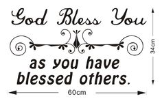 Wall Decals - YYone Original Quote Wall Decal Quote God Bless You As You have Blessed Others Wall Decor Sticker -