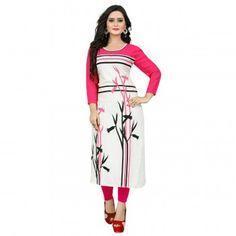 Rayon Cream & Pink Printed Stitched Straight Kurti - VKT004PK