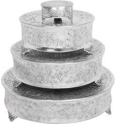 """UMA Inc Alum Cake Stnd S/4 22"""",18"""",14"""",6""""W"""