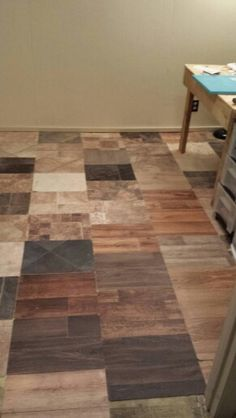 awesome DIY floor done with laminate samples from Home Depot ...