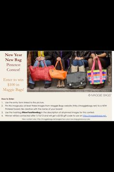 #NewYearNewBag I so want to win this contest! I have two Maggie Bags now and you can never have too many handbags :-)