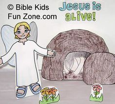 Kids can make their own Resurrection scene with the tomb, stone, Bible character standups. There is a mummy and the strips of cloth for you to insert in slits in the tomb, and a stone to place over the entrance. The angel's wings attach to its back. Jesus Is Alive, Bible Coloring Pages, Bible Pictures, Angel Crafts, Bible Lessons For Kids, Christian Kids, Bible Teachings, Sunday School Lessons, Bible Crafts