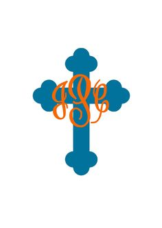 Monogrammed Cross Decal for Car Car Monogram, Cricut Monogram, Monogram Decal, Cricut Vinyl, Silhouette Vinyl, Silhouette Cameo Projects, Silhouette Design, Vinyl Crafts, Vinyl Projects