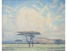 Landscape with Acacias and Clouds by Jacob Hendrik Pierneef, South African painter, 1938 ☁ Landscape Art, Landscape Paintings, South African Art, Tree Paintings, Cloud Art, Witch Art, Fine Art Auctions, Natural History, Artist At Work