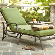 Pembrey Patio Chaise Lounge with Moss Cushion