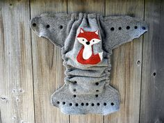 Upcycled Wool Nappy Cover Diaper Wrap Cloth Diaper Cover One Size Cover Gray With Fox Applique