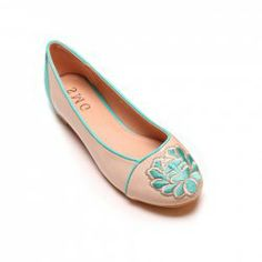 $17.07 Sweet Women's Flat Shoes With Embroidery and Round Toe Design