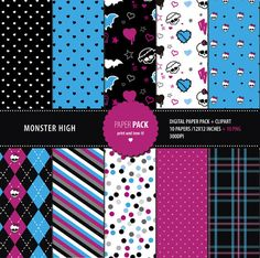 Monster High. Set de cumpleaños y  texturas para por printandlove