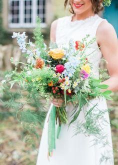 Flowers Bouquet Bride Bridal Greenery Foliage Whimsical Rose Large Fern Green Colourful Festival Wedding Ideas http://www.sungblue.com/