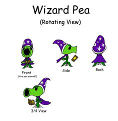 """So, the dev team for Plants Vs Zombies Garden Warfare sent out a call of action, asking the community to submit concept art for an additional peashooter character that isn't already in the game. And I felt a desperate urge to submit this idea for a """"Wizard Pea."""" So I did 2.5 pages of sketches, and then I basically added color, and put it all in a youtube video, which you can view here: http://youtu.be/qwdXFh3qMHQ"""