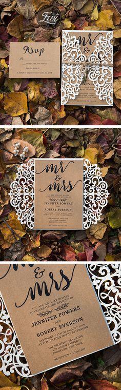 Rustic Burlap laser cut wedding invitation #wedding#invitation#elegantweddinginvites#rustic