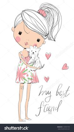 Find Cute Girl Dog stock images in HD and millions of other royalty-free stock photos, illustrations and vectors in the Shutterstock collection. Illustration Mignonne, Boy Illustration, Illustrations, Girl Cartoon, Cute Cartoon, Cartoon Mignon, Girl And Dog, Whimsical Art, Kawaii