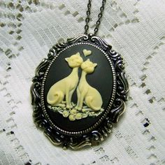 Cats Cameo Brooch Necklace - Love Cats - Two Cats - Black and White Cats - Cats in Love - Cats Pendant and Pin combination - Rococo cats by SouthernBelleOOAK on Etsy