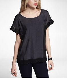 Express Womens Luxe Lace Trimmed Top Pitch Black, X Small
