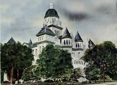 Jasper County Courthouse Original Painting used for @classiclegacy custom gifts