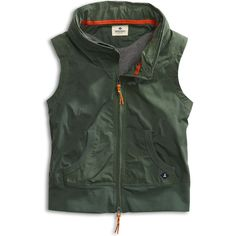 Nylon vest with jersey lining Packable hood, stand collar Rib knit waistband Sleeveless Front pockets