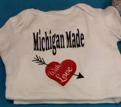 Born in the mitten bodysuit michigan baby shower gifts michigan find this pin and more on baby showers michigan made with love custom baby gifts negle Choice Image