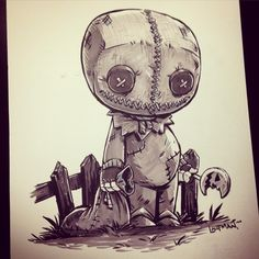 "3,753 curtidas, 38 comentários - Derek Laufman (@dereklaufman) no Instagram: ""#inktober Day 11 - Sam from Trick r Treat. Highly recommend this silly horror movie if you haven't…"""