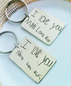 Handwriting Keychain in Silver, perfect Bouquet Charm, Your Real Handwriting on a Silver Keychain, or Childs Drawing, Childs Artwork